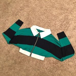 Green and navy blue striped collard crop top